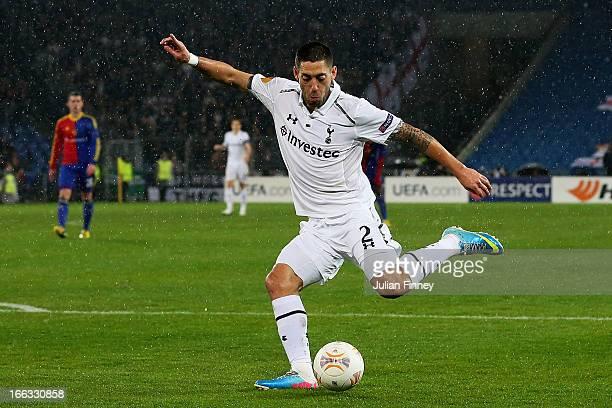 Clint Dempsey of Spurs scores the opening goal during UEFA Europa League quarter final second leg match between FC Basel 1893 and Tottenham Hotspur...