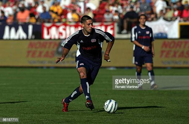 Clint Dempsey of the New England Revolution makes a pass in the first hlaf during MLS Cup 2005 against the Los Angeles Galaxy at Pizza Hut Park on...