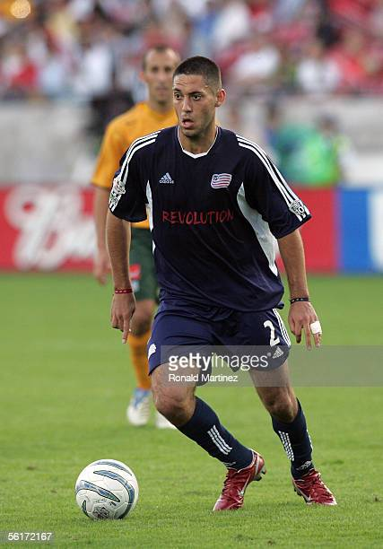 Clint Dempsey of the New England Revolution moves the ball at midfield during MLS Cup 2005 against the Los Angeles Galaxy at Pizza Hut Park on...