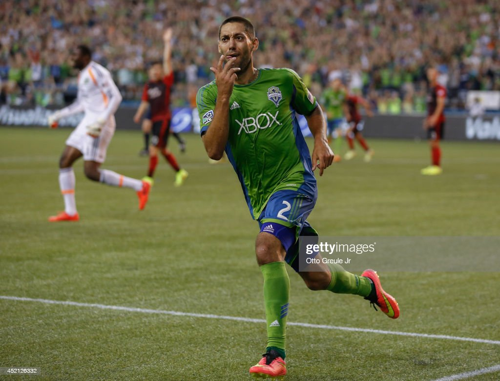 Clint Dempsey #2 of the Seattle Sounders reacts after scoring a goal in the second half against the Portland Timbers at CenturyLink Field on July 13, 2014 in Seattle, Washington.