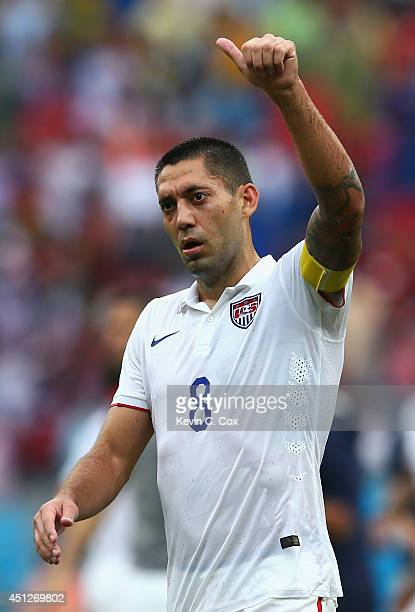 Clint Dempsey of the United States acknowledges the fans after being defeated by Germany 10 during the 2014 FIFA World Cup Brazil group G match...