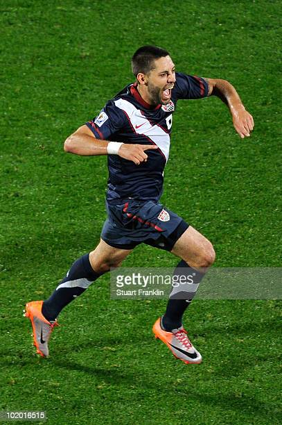 Clint Dempsey of the United States celebrates after scoring his team's first goal during the 2010 FIFA World Cup South Africa Group C match between...