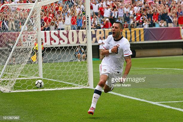 Clint Dempsey of the United States celebrates after scoring the game winning goal during a preWorld Cup warmup match against Turkey at Lincoln...