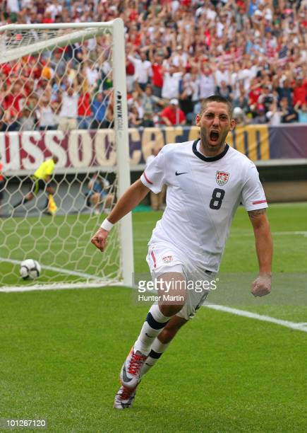 Clint Dempsey of the United States celebrates after scoring the game winning goal during a pre-World Cup warm-up match against Turkey at Lincoln...
