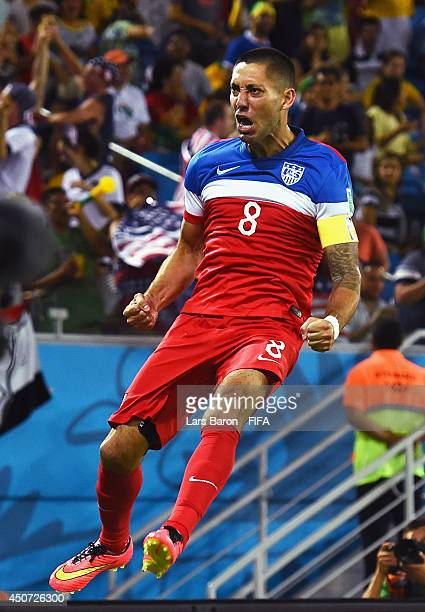 Clint Dempsey of the United States celebrates after scoring the team's first goal during the 2014 FIFA World Cup Brazil Group G match between Ghana...