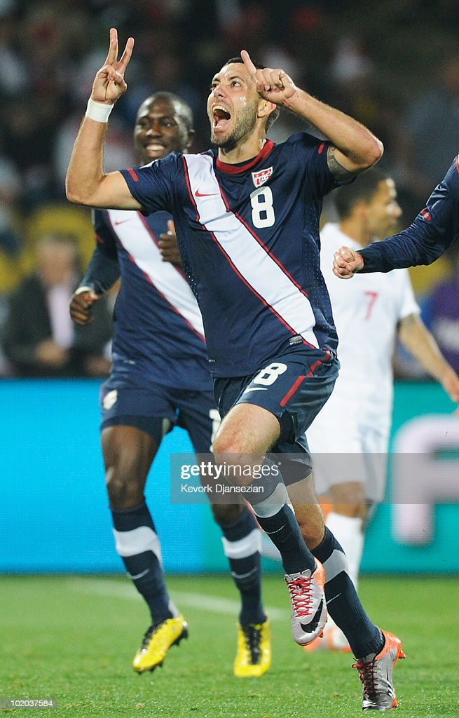 Clint Dempsey of the United States celebrates his goal during the 2010 FIFA World Cup South Africa Group C match between England and USA at the Royal Bafokeng Stadium on June 12, 2010 in Rustenburg, South Africa.