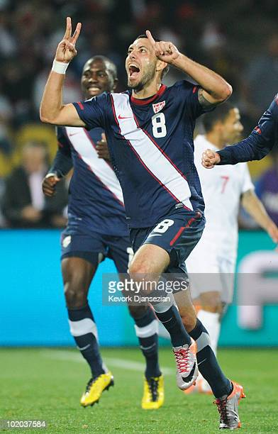 Clint Dempsey of the United States celebrates his goal during the 2010 FIFA World Cup South Africa Group C match between England and USA at the Royal...