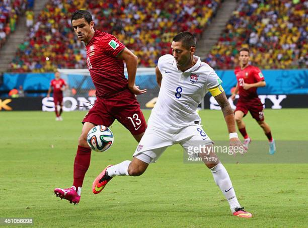 Clint Dempsey of the United States controls the ball against Ricardo Costa of Portugal during the 2014 FIFA World Cup Brazil Group G match between...