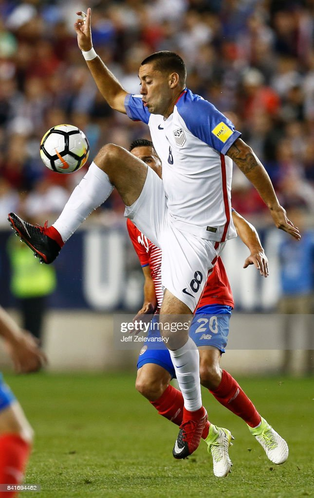 Clint Dempsey #8 of the United States fights for the ball with David Guzman #20 of Costa Rica during their match at Red Bull Arena on September 1, 2017 in Harrison, New Jersey.