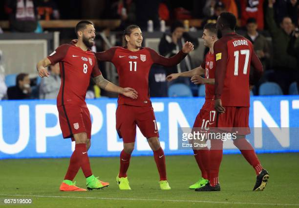 Clint Dempsey of the United States is congratulated by Alejandro Bedoya Christian Pulisic and Jozy Altidore after scoring a goal on Donis Escober of...