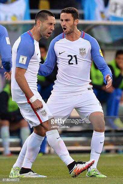 Clint Dempsey of the United States Men's National Team celebrates his first half goal against Guatemala with Steve Birnbaum of the United States...