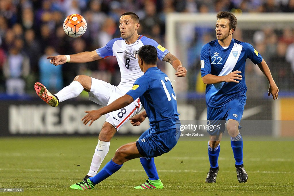 Clint Dempsey #8 of the United States Men's National Team takes control of the ball in the second half in front of Carlos Castrillo #13 and Rodrigo Saravia #22 of Guatemala during the FIFA 2018 World Cup qualifier on March 29, 2016 at MAPFRE Stadium in Columbus, Ohio. The United States defeated Guatemala 4-0.