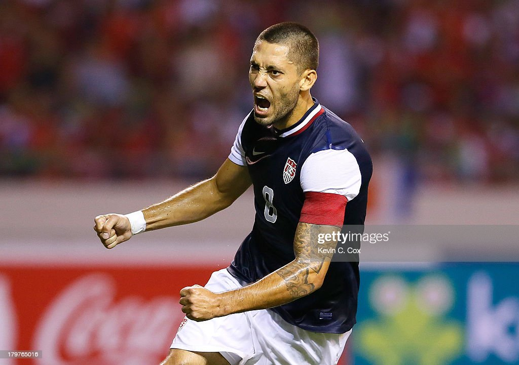 Clint Dempsey #8 of the United States reacts after scoring off a penalty kick against Costa Rica during the FIFA 2014 World Cup Qualifier at Estadio Nacional on September 6, 2013 in San Jose, Costa Rica.