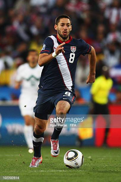 Clint Dempsey of the United States runs with the ball during the 2010 FIFA World Cup South Africa Group C match between Slovenia and USA at Ellis...