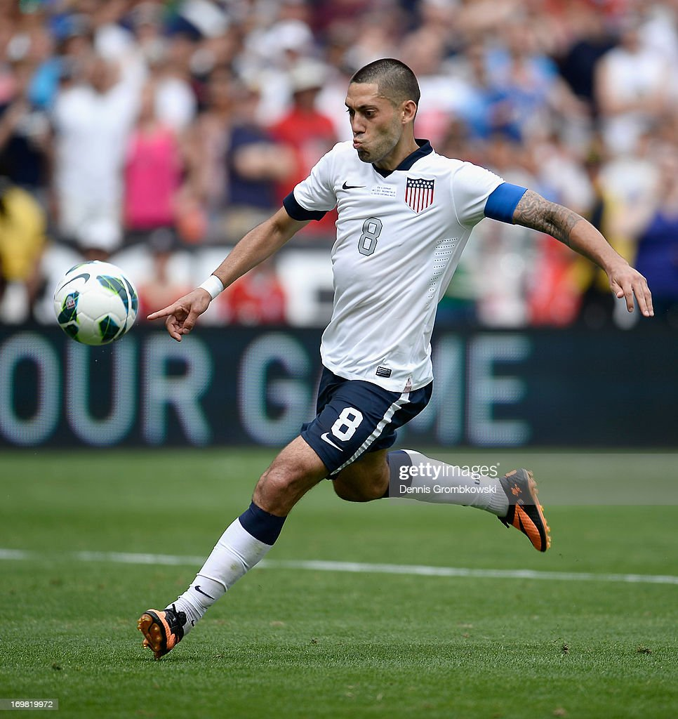 Clint Dempsey of the United States scores his side's third goal during the International Friendly match between Germany and the United States at the RFK Stadium on June 2, 2013 in Washington, DC.