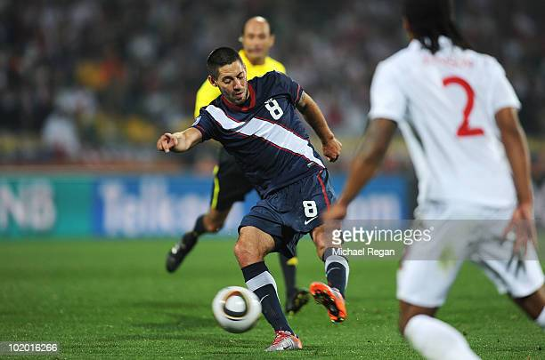 Clint Dempsey of the United States shoots and scores during the 2010 FIFA World Cup South Africa Group C match between England and USA at the Royal...