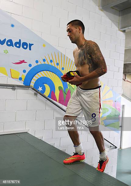 Clint Dempsey of the United States shows his dejection in the tunnel on the way to the dressing room after the 1-2 defeat in the 2014 FIFA World Cup...