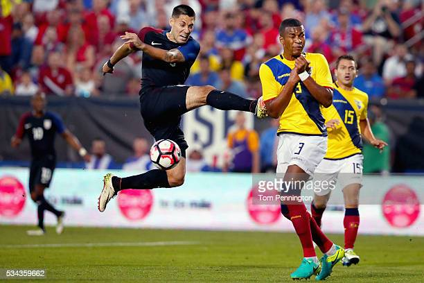 Clint Dempsey of the United States takes a shot against Frickson Erazo of Ecuador in the second half during an International Friendly match at Toyota...