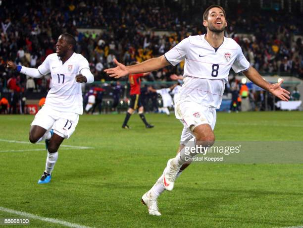 Clint Dempsey of the USA celebrates the second goal during the FIFA Confederations Cup Semi Final match between Spain and USA at Free State Stadium...