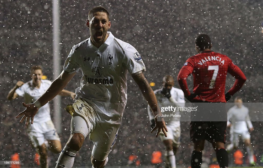 Clint Dempsey of Tottenham Hotspur celebrates scoring their first goal during the Barclays Premier League match between Tottenham Hotspur and Manchester United at White Hart Lane on January 20, 2013 in London, England.
