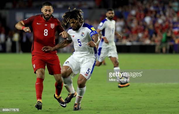 Clint Dempsey of United States and Roman Torres of Panama fight for the ball during the 2018 FIFA World Cup Qualifying match at Orlando City Stadium...