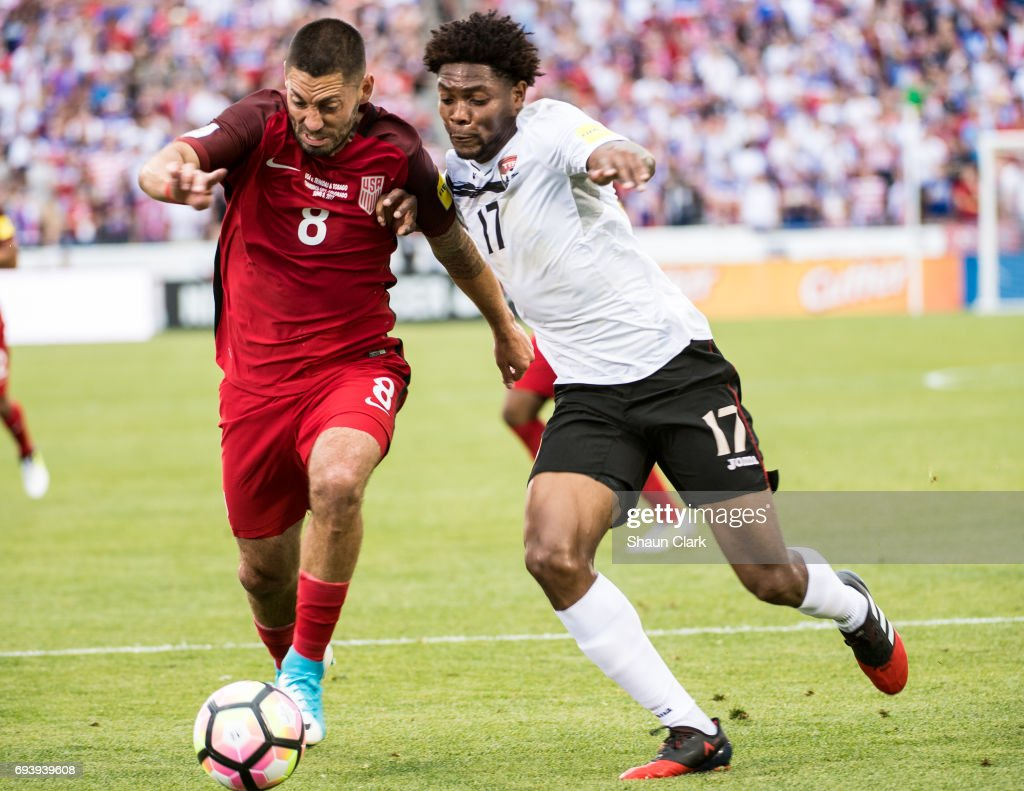 Clint Dempsey #8 of United States battles Mekell Williams #17 of Trinidad & Tobago during the World Cup Qualifier match between the United States and Trinidad & Tobago at Dick's Sporting Goods Park on June 8, 2017 in Commerce City, Colorado. The United States won the match 2-0
