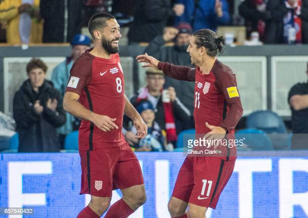 Clint Dempsey of United States celebrates his 2nd goal with Alejandro Bedoya of United States during the World Cup Qualifier match between the United...