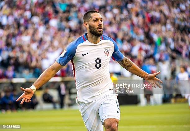 Clint Dempsey of United States celebrates his goal during the Copa America Centenario Quarterfinal match between United States and Ecuador at...