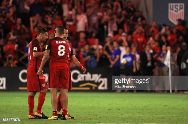 Clint Dempsey of United States celebrates winning a 2018 FIFA World Cup Qualifying match against Panama at Orlando City Stadium on October 6 2017 in...