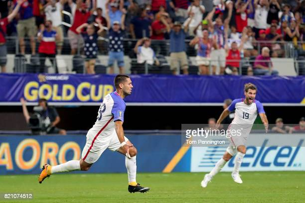 Clint Dempsey of United States celebrates with Graham Zusi of United States after scoring against Costa Rica during the 2017 CONCACAF Gold Cup...