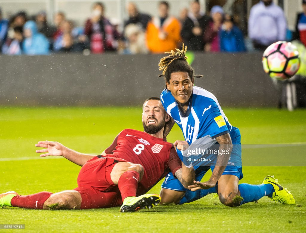 Clint Dempsey #8 of United States pushes into Henry Figueroa #4 of Honduras and scores his first goal during the World Cup Qualifier match between the United States and Honduras at Avaya Stadium on March 24, 2017 in San Jose, California. The United States won the match 6-0