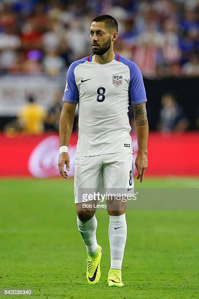 Clint Dempsey of United States reacts in the first half against Argentina during a 2016 Copa America Centenario Semifinal match at NRG Stadium on...