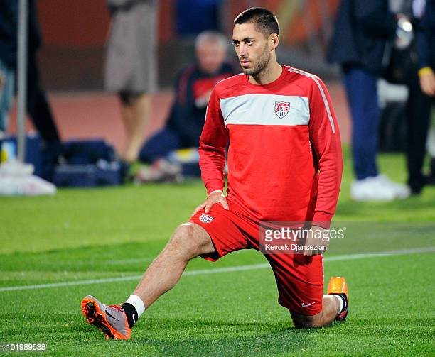 Clint Dempsey of US national football team warms up during a training session at Royal Bafokeng stadium on June 11 2010 in Rustenburg South Africa