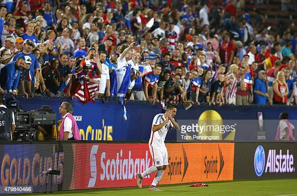 Clint Dempsey of USA celebrates with fans after USA beat Honduras 21 during the 2015 CONCACAF Gold Cup Group A match between USA and Honduras at...
