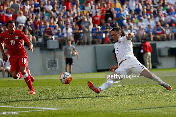 Clint Dempsey of USA scores a second half goal in front of Yasmani Lopez of Cuba during the second half of USA's 60 win during the 2015 CONCACAF Gold...