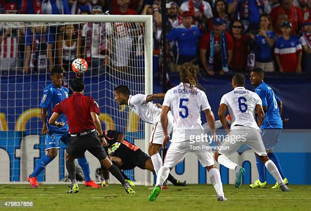 Clint Dempsey of USA scores against Honduras during the 2015 CONCACAF Gold Cup Group A match between USA and Honduras at Toyota Stadium on July 7...