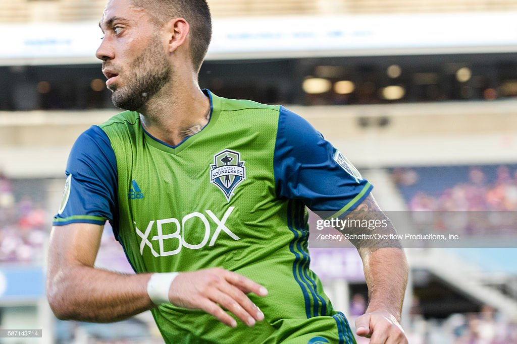 Clint Dempsey # 2 scores a hat trick for the Seattle Sounders vs the Orlando City Lions at Citrus Bowl on August 07, 2016 in Orlando, Florida.