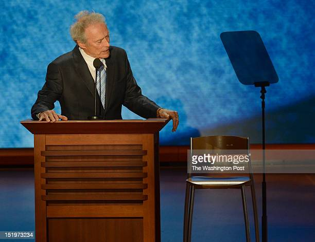 TAMPA FL AUGUST 30 Clint Eastwood address a chair that he pretends has President Obama in it during his speach crowd on the final day of the 2012...