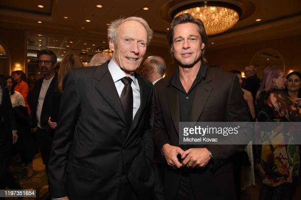 Clint Eastwood and Brad Pitt attend the 20th Annual AFI Awards at Four Seasons Hotel Los Angeles at Beverly Hills on January 03 2020 in Los Angeles...