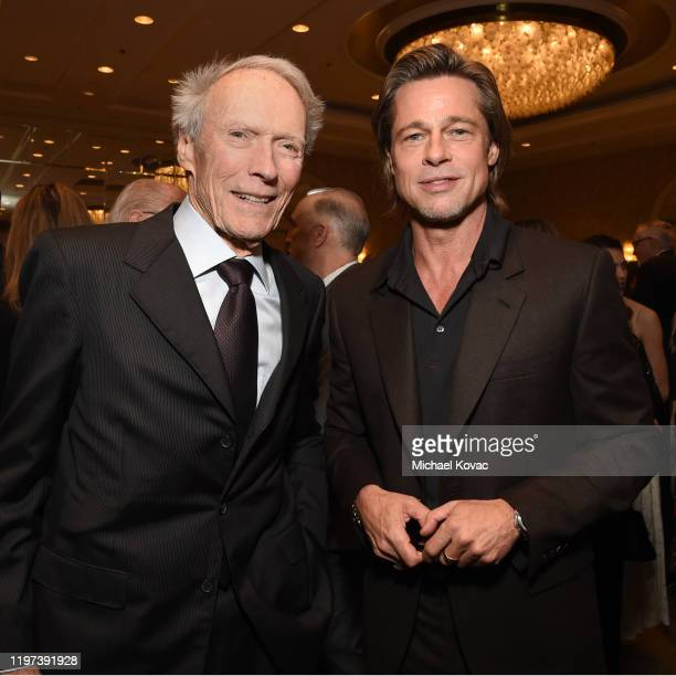 Clint Eastwood and Brad Pitt attend the 20th Annual AFI Awards at Four Seasons Hotel Los Angeles at Beverly Hills on January 03, 2020 in Los Angeles,...
