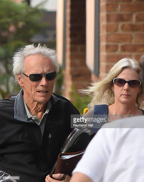 Clint Eastwood and Christina Sandera are seen walking in Soho on September 28 2015 in New York City