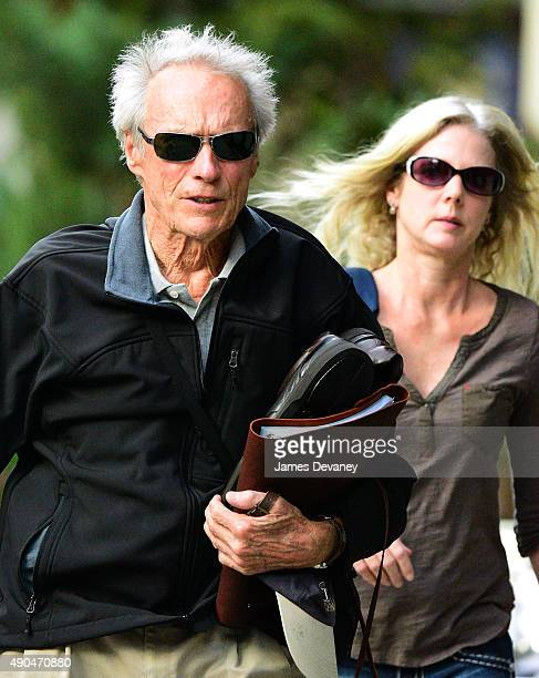 Clint Eastwood and Christina Sandera seen on the streets of Manhattan on September 28 2015 in New York City