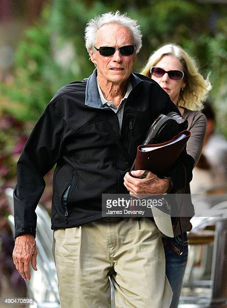Clint Eastwood and Christina Sandera seen on the streets of Manhattan on September 28, 2015 in New York City.