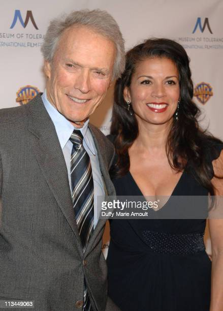 Clint Eastwood and Dina Ruiz attend the Museum of Tolerance International Film Festival Tribute Gala at Museum Of Tolerance on November 14 2010 in...
