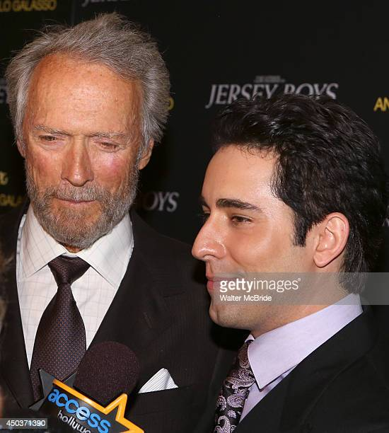 Clint Eastwood and John Lloyd Young attend a special New York screening reception for 'Jersey Boys' hosted by Angelo Galasso at Angelo Galasso on...