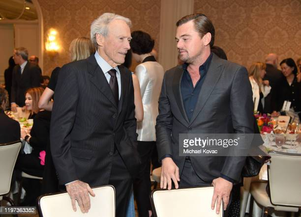 Clint Eastwood and Leonardo DiCaprio attend the 20th Annual AFI Awards at Four Seasons Hotel Los Angeles at Beverly Hills on January 03, 2020 in Los...