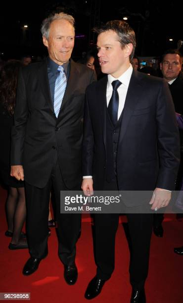 Clint Eastwood and Matt Damon arrive at the UK film premiere of 'Invictus', at Odeon West End on January 31, 2010 in London, England.