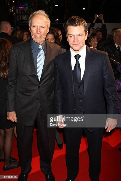 Clint Eastwood and Matt Damon attend the UK premiere of Invictus held the at The Odeon West End on January 31, 2010 in London, England.