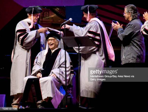 Clint Eastwood and Roger Brown president of Berklee College of Music present Dave Brubeck an Honorary Doctorate from Berklee College of Music Pianist...