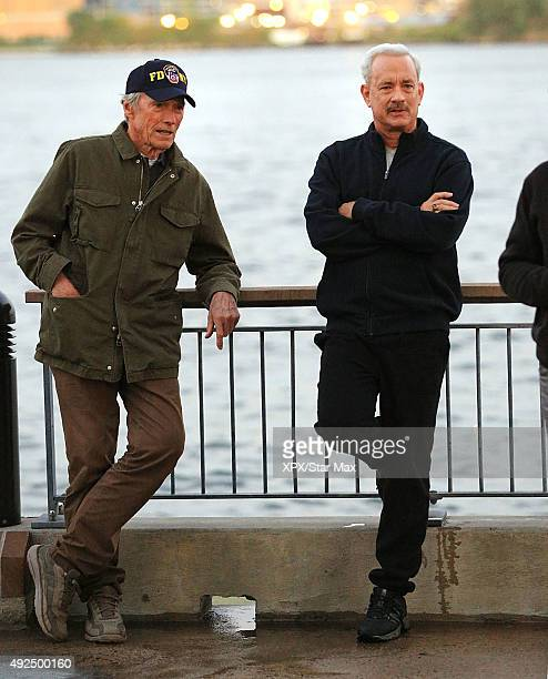 Clint Eastwood and Tom Hanks are seen on the set of 'Sully' seen on October 7 2015 in New York City